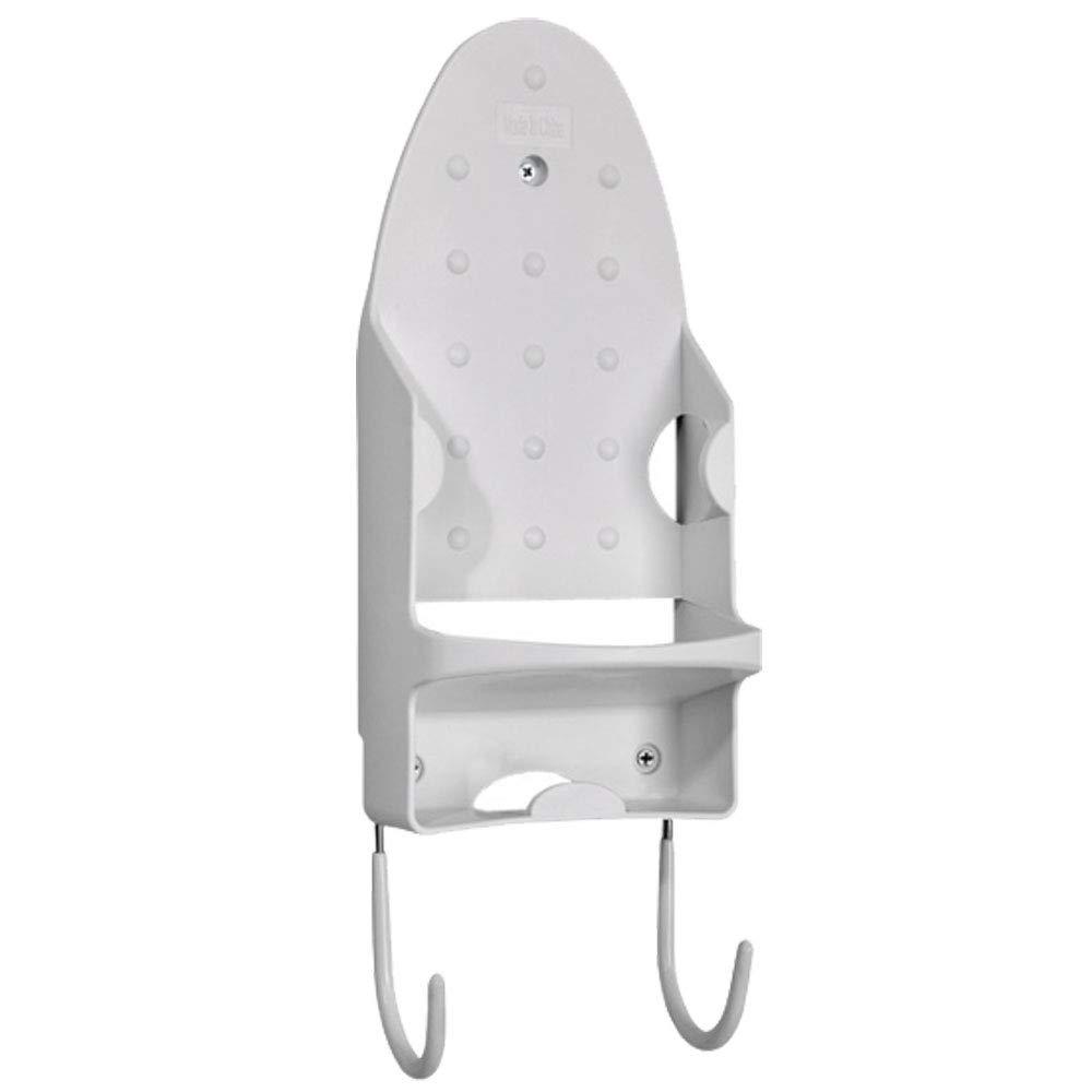 Cestlafit Supporto per ferro da stiro e supporto per il ferro Supporto a muro resistente al calore con ganci in acciaio, ganci portapiatti in ghisa bianca, 31X13.5X11CM