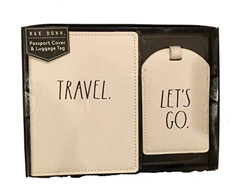 (Rae Dunn 2 PC Passport Cover and Luggage Tag Boxed Set (Travel/Let's Go))