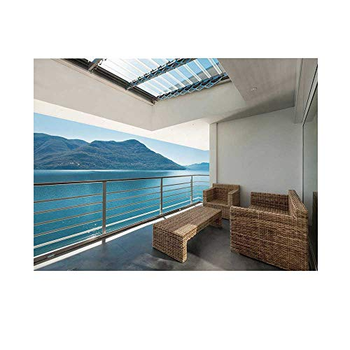 (Patio Decor Photography Background,Summer Penthouse Veranda Balcony with Sea Ocean View Backdrop for Studio,10x6ft)