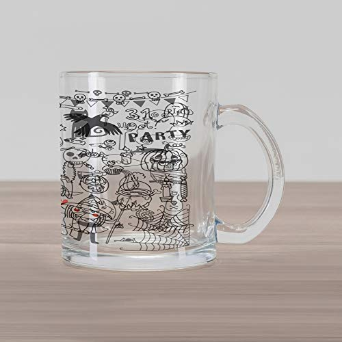 Lunarable Halloween Glass Mug, Lets Celebrate Halloween Quoted Skeleton Cat Owl Night Drawings Bat, Printed Clear Glass Coffee Mug Cup for Beverages Water Tea Drinks, Black White Burnt Orange