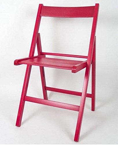 Gerimport Silla plegable roja de madera 38x42x87
