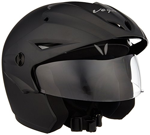 Vega Cruiser CR-W/P-DK-M Open Face Helmet with Peak (Dull Black, M) 2