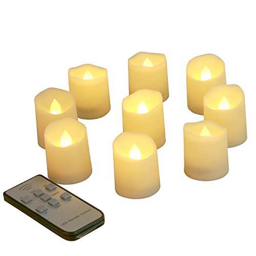 Outer Led Type (Homemory LED Votive Tea Lights with Timer and Remote, 150 hours Long Lasting Battery, 9 Pcs, Dimmer/Fast/Slow Flickering Mode, Flameless Candle in Amber Yellow Light)