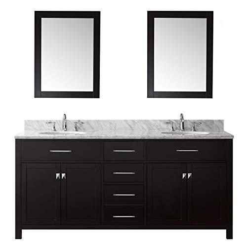 Virtu USA MD-2072-WMRO-ES-020 Caroline Bathroom Vanity 72 inches - Espresso Vanity Basin