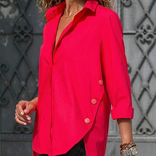 Manche Bouton Manches Femmes Chemisier Blouses Dames Rouge De Femme Nouveau Alian Blouse Chemises Irrégulier Bureau Turn Longue Longues Tops Down Col Automne Chemise 6Zw85xwYfq