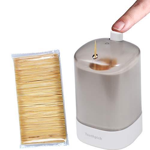 Pop-up Toothpick Holder Dispenser & 400 Pcs Bamboo Toothpicks,Toothpick Holder for Kitchen/Dining Room (White)