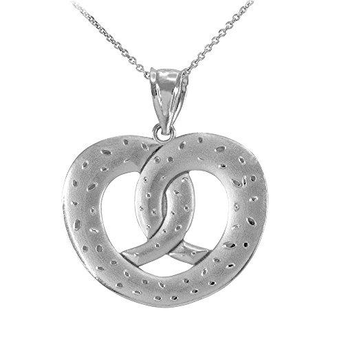 Fine 925 Sterling Silver Heart Shape Pretzel Pendant Necklace, 20