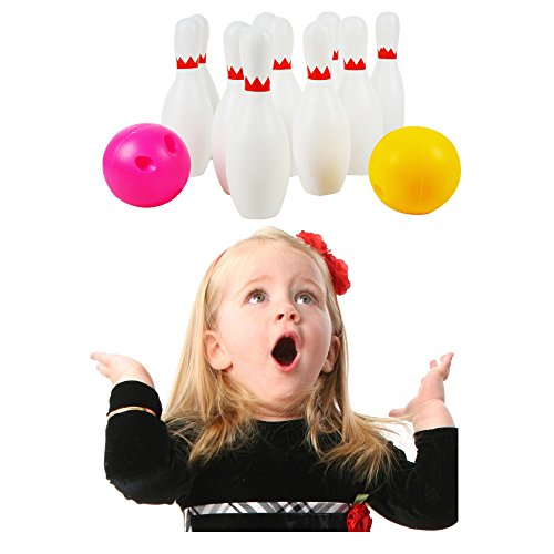 SOWOFA Bowling Set with 10 Pins 2 Balls Classical Indoor Plastic Portable Zipper Bag Sport Toy Game Big Large for Kids Baby Boy -