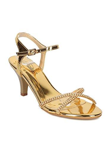 Indulge Women Ankle Strap Kitten Heel Sandal - Rhinestone Kitten Heel Party Shoe - Wedding Bridesmaid Prom Formal Dressy Heel Sandal - GAGA - Gold Metallic (Size: 7.0)