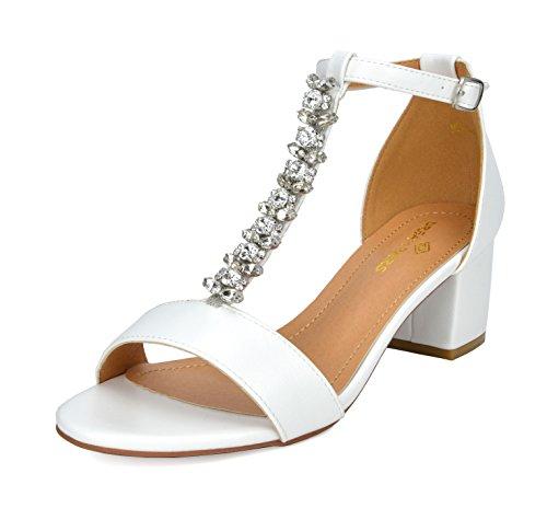 DREAM PAIRS Women's Mona_08 White Pu Fashion Block Heeled Sandals Size 8 B(M) US