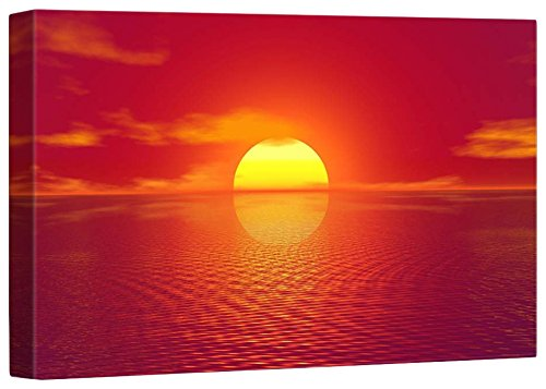 Print Home Décor Majestic View of Red Sunrise on The Sea ing 12 L X 18 W