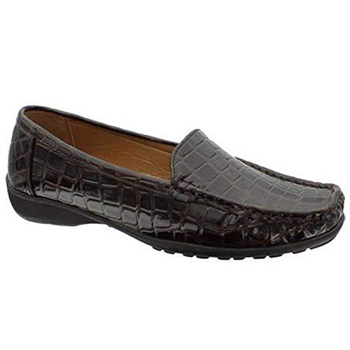 Pierre Dumas Hazel-7 Womens Casual Flexsole Slip On Loafer,Brown Croc, 6M