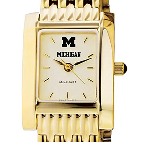 Michigan Wolverines Ladies Watch - M. LA HART Michigan Women's Gold Quad Watch with Bracelet