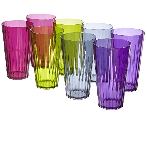 Plastic Drinking Glasses - Rio 20-ounce Plastic Water Tumblers | set of 8 in 4 Soiree Colors