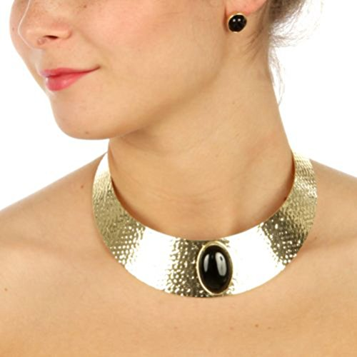 Fashion Trendy Faux Stone Accent Necklace Earring Set for Women / AZFJNS577 (Gold Tone Black)