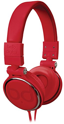 Bell'O Digital BDH806RD  Over-the-Head Headphones with Track Control and Microphone, Red For Sale
