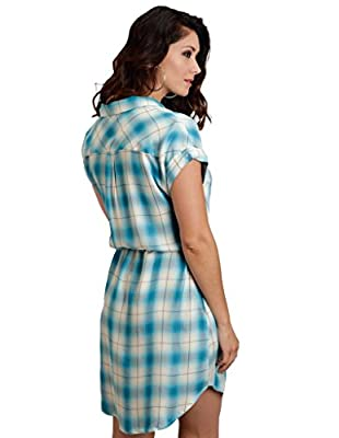 Stetson Womens 0901 Rayon Twill Plaid Western Shirtdress
