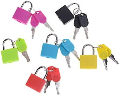 Locks - Mini Strong Steel Padlock Travel Tiny Suitcase Lock With 2 Keys 6 Colors Small - Replacement Regular Latch Lock Strap Locker Pack Silver Gold Digital Locks Small Suitcase Cable: Amazon.es: