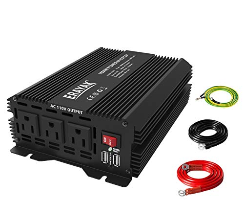 ERAYAK 1500W Power Inverter for Car Truck Inverter 12 Volt DC to AC Car Converter with 3 AC Outlets and Dual USB Ports TUV ()