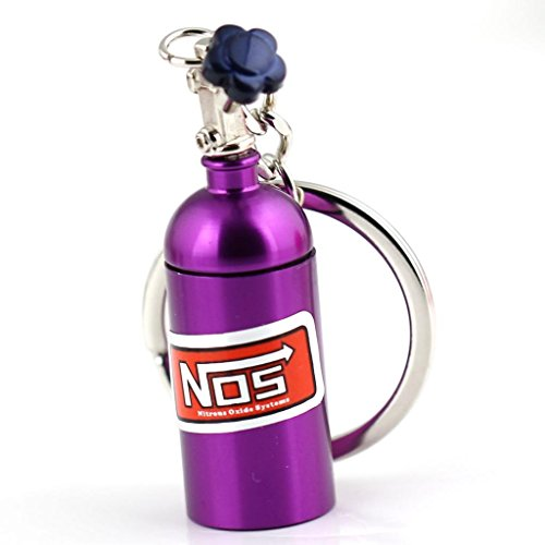 Maycom Creative New NOS Mini Nitrous Oxide Bottle Keyring Key Chain Ring Keyfob Stash Pill Box Storage Turbo Keychain (Purple)