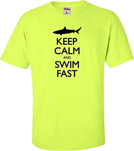 YM 10-12 Safety Green Youth Keep Calm and Swim Fast Funny Shark Lovers - T-shirt Shark Youth