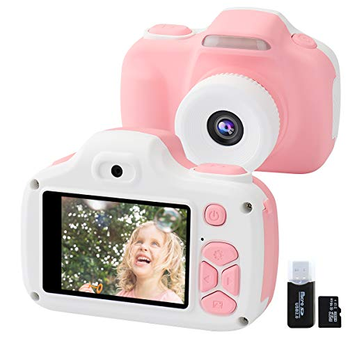 Joytrip Kids Camera for Girls Gifts, 12MP Digital Selfie 1080P HD Video Camcorder for Children 3-9 Years Old Shockproof Mini Learning Toy Cameras with Flash (16GB Memory Card Included) (Pink)