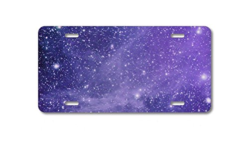 (Custom License Plate, Personalized Monogram Aluminum Full Color Vanity Front Plate, Purple Black White Stars Nebula Car Tag, Vanity Plate, Auto Tag, Fantasy Decor.)