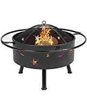 Fire Pit for Heating/BBQ, Multifunctional Outdoor Wood Burning Pits with BBQ Grill Shelf & Protective Cover, Portable BBQ Grill Garden Terrace Fire Bowl for Camping BBQ