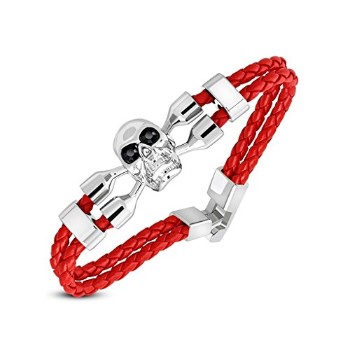 - Fashion Skull Crossbones Watch-Style Double Strand Braided Red Leather Toggle Bracelet with Jet Black CZ