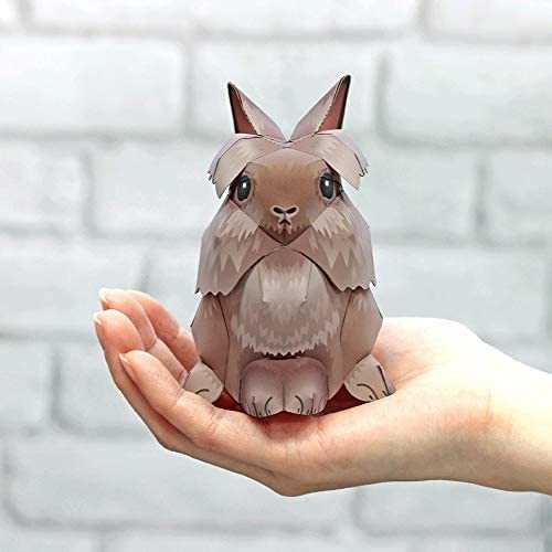 ELVVT ライオンウサギ動物3Dペーパーモデル玩具親子DIYマニュアル幼稚園の子供の折り紙クラフトジグソーパズルギフト