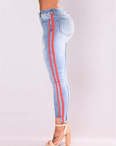 Skinny Jeggings Blu Slim Alta Stretch Vita Pantaloni Leggings Ripped Scuro Suncaya Matita Jeans Donna X7qT1vY