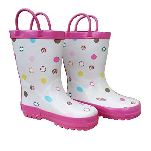 Foxfire for Kids White with Polka Dots Rubber Boots Size 10 ()
