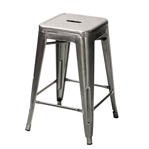 Adeco 24 inch metal tolix industrial chic chair bar counter barstool set of 4 gunmetal glossy - Tolix marais barstool ...
