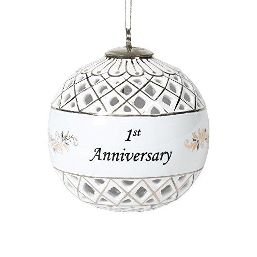1st Anniversary Silvertone Diamond Cut 3.25 Inch Porcelain Ball Ornament ()