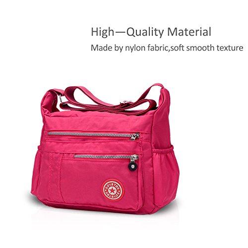 Satchel Bag Bag Handbags Women Tote Hobo Crossbody Shoulder amp;DORIS Nylon Waterproof Pink Purse NICOLE 6RqYwxzaI
