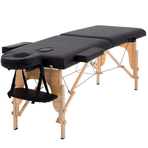 Massage Table Massage Bed Spa Bed 84 Inches Long Portable 2 Folding W/Carry Case Table Heigh Adjustable Salon Bed Face Cradle Bed ()