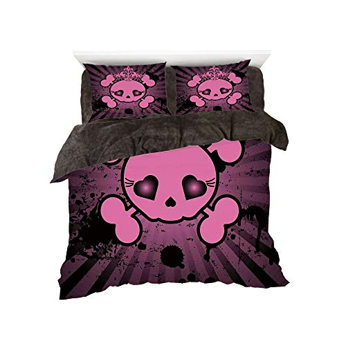 Flannel Duvet Cover Set 4-Piece Suit Warm Bedding Sets Quilt Cover for bed width 5ft Pattern by,Skull,Cute Skull Illustration with Crown Dark Grunge Style Teen Spooky Halloween Print Decorative,Pink B for $<!--$118.88-->