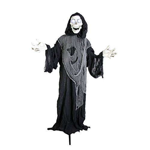 [Halloween Haunters Animated Standing Life Size Strobe Skull Reaper Prop Decoration - 5' Tall, Evil Eyes & Skeleton Light Up - Battery] (Halloween Animatronics)