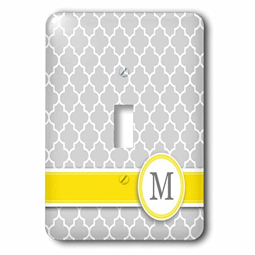 Initial Pattern - 3dRose lsp_154579_1 Your Personal Name Initial Letter M Monogrammed Grey Quatrefoil Pattern Personalized Yellow Gray Light Switch Cover