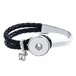 Lovmoment Snap Bracelet Black Leather & Alloy New Type Bracelets Fit 1820mm Snap Charms