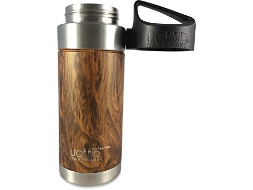Liquid Hardware Sidewinder: Stainless Steel Double Wall Vacuum Insulated Leak/Sweat Proof Sports Water Bottle, Wide Mouth BPA Free with Magnetic Quick Stick Lid (Koa Wood Grain, 16 oz)