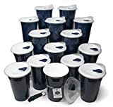 Rolling Sands Reusable BPA-Free 16oz Navy Blue Party Cups with Lids - 15 Pack, Made in USA