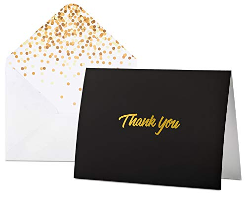 - 100 Thank You Cards with Envelopes - Thank You Notes, Black & Gold Foil - Blank Cards with Envelopes - For Business, Wedding, Graduation, Baby/Bridal Shower, Funeral, Professional Thank You Cards Bulk