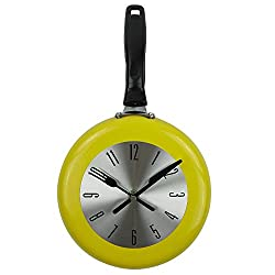 Wall Clock, 8 inch Metal Frying Pan Kitchen Wall Clock Home Decor - Kitchen Themed Unique Wall Clock with a Screwdriver (Yellow)