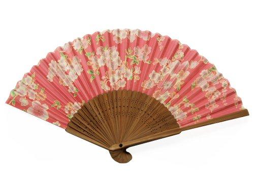 Leaf Hf - Japanese Design Silk Handheld Folding Fan, Pink Rose w/Outline Flowers and Green Leaves HF-222