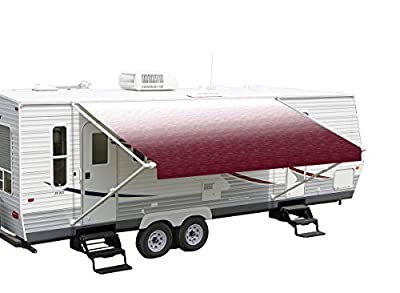 "Shade Pro RV Vinyl Awning Replacement Fabric - Burgundy Fade 14' (Fabric 13'2"")"