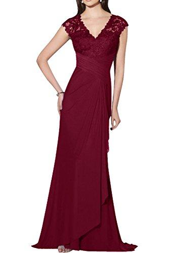 Chiffon Abschlussballkleider Spitze Abiballkleider Damen Charmant Lang Abendkleider Blau Royal Rot Dunkel Fliessend BHxf1w