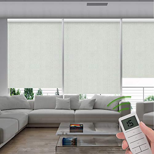 Rekabel Motorized Roller Window Shades Blinds Fireproof 100% Blackout Cordless Free-Stop Wireless Remote Automatic Electric Powered Shades with Valance for Smart Home and Office, Customized Size