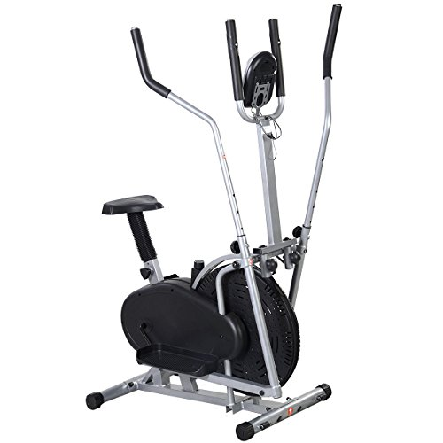 Goplus 2 IN 1 Elliptical Bike Dual Cross Trainer Machine Exercise Upgraded Model