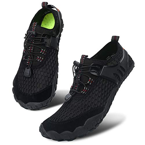 Centipede Demon Women Wide Toe Box Quick Dry Barefoot Water Shoes Pure Black Women 12 M/Men 10 M